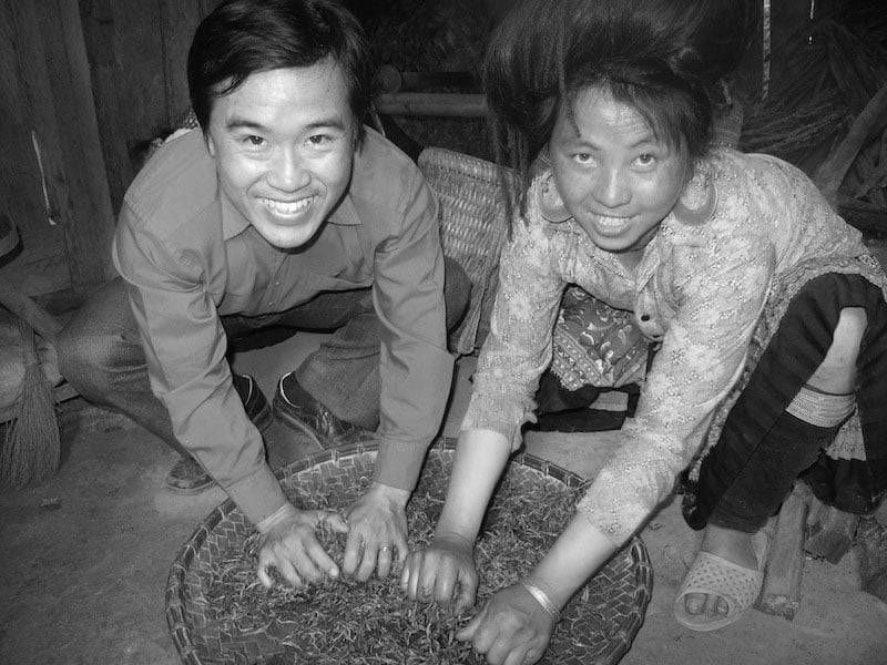 Making anicent tea by H'mong minority
