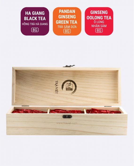 Pandan Ha Giang Black Ginseng Oolong Tea Wooden Convenience Gift 3