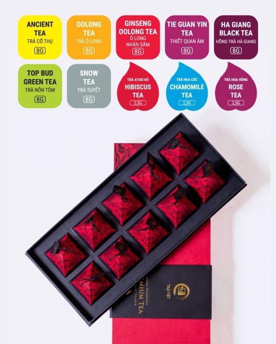 Hộp Kim Tự Tháp 10 trà cô thụ, trà ô long, trà ô long nhân sâm, trà thiết quan âm, hồng trà Hà Giang, trà nõn tôm, trà tuyết, trà atiso đỏ, trà hoa cúc, trà hoa hồng