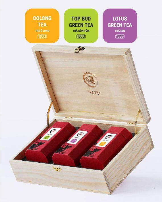 Hộp Tri Ân gỗ trà nõn tôm, trà Sen, trà ô long