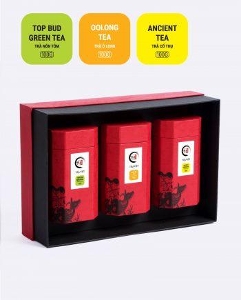 Hộp Tri Ân trà ô long, trà nõn tôm, trà cổ thụ