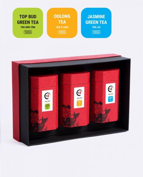 Hộp Tri Ân trà ô long, trà nõn tôm, trà lài