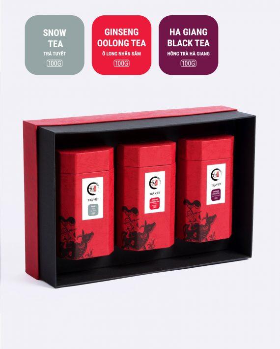 Hộp Tri Ân trà tuyết, trà ô long nhân sâm, hồng trà Hà Giang