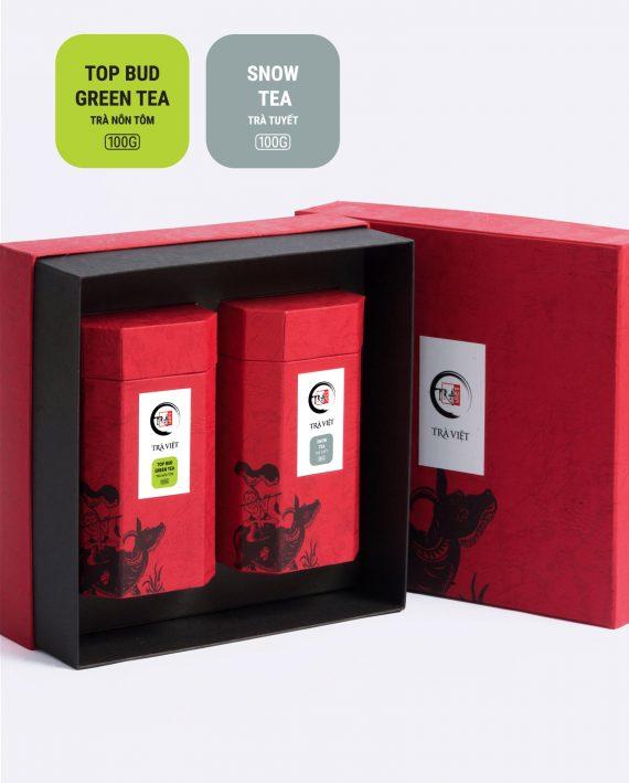 Hộp Tri Kỷ trà nõn tôm, trà tuyết