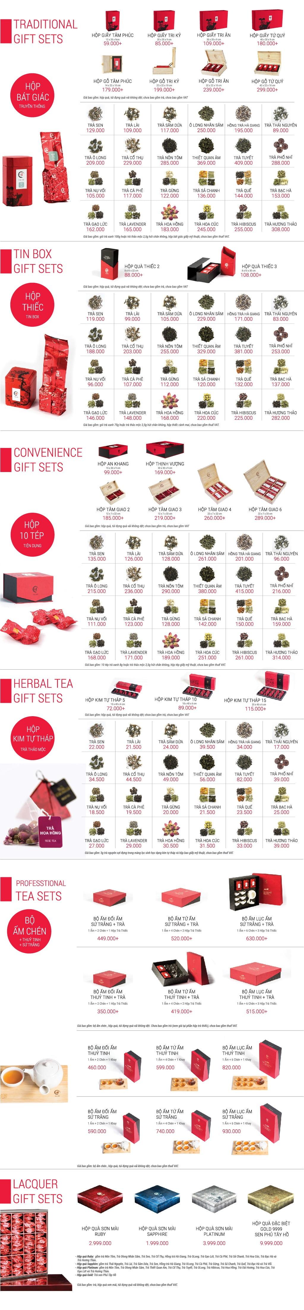 Bảng giá quà tặng trà 2019